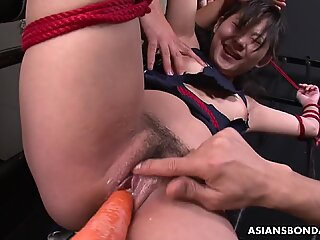 Sayaka gets toyed by vegetables and sucks dicks