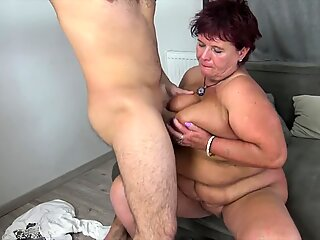Old granny is seducing her stepson!