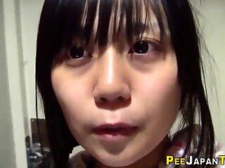 Japanese babe pee fills