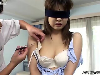 Blindfolded Japanese chick Wakana Sakai gets her clothes ripped off