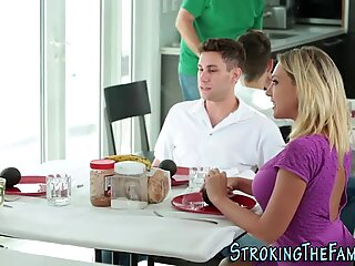 Stepmom blows under table