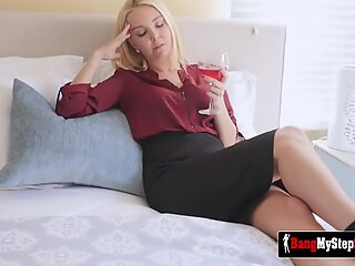 Naughty sexy stepmom gets her sweet pussy banged by her horny stepson while her husband is working