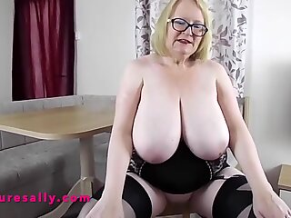 Granny with huge tits and shaved pussy in corset & stockings