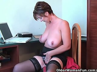 fancy grandmother Fucks Her Pussy And Asshole With Dildos In Hotel apartment