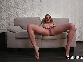 Astonishing girl fingers tight twat until she is having orgasm