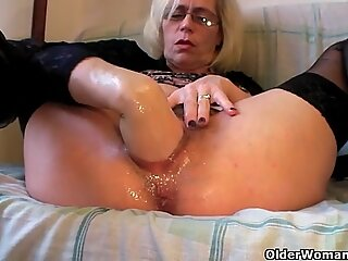 pervy grandma fists her furry snatch