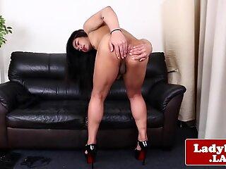 Solo ladyboy jerking off her cock gently