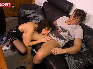 LETSDOEIT -Horny German Granny Fucked Hard On The Couch