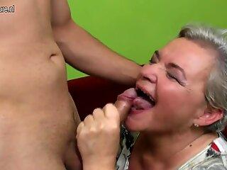 Naughty big grandma having sex with her young boy