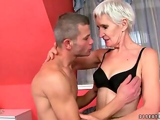Handsome man fucking hot hairy granny
