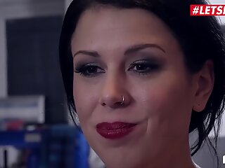 LETSDOEIT - Hot German Escort Fucks Two Lucky Guys In Garage Shop