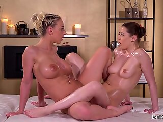Huge tits masseuse tribbing brunette