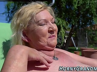 Mature granny sucking