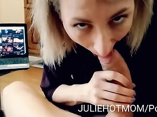 mother surprises her son and deepthroats his shaft in front of a porno movie. perfe