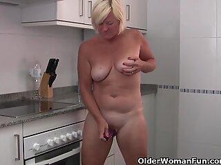 Grandma wears see through white pants and masturbates