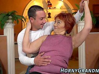 Old grandma face spermed