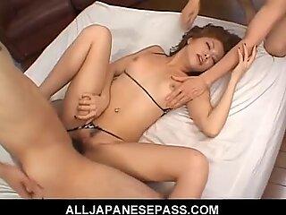 Fit Japanese cougar fucks in a tiny bikini