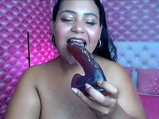 BBW deepthroating dildo and lot of spit