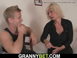 Hot old blonde gets her pussy slammed