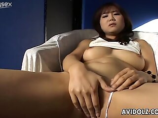 Small vibrator is enough for tight hairy cunt of Maki Hoshino