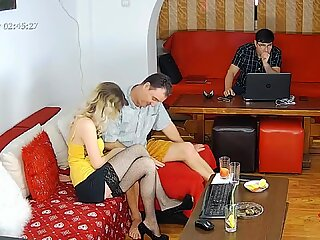 WIFE CHEATING WITH A NEIGHBOUR, WHILE HUSBAND IS WORKING IN THE SAME ROOM