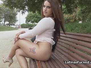 Latina babe is nude outdoors cocked indoors