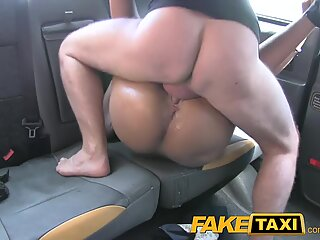 FakeTaxi dark haired gargles fucks and takes it in the caboose