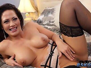 Busty milf rubbing her pussy