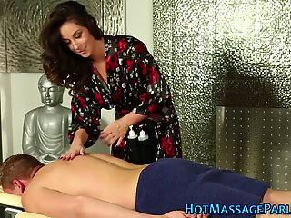 Gorgeous masseuse licked