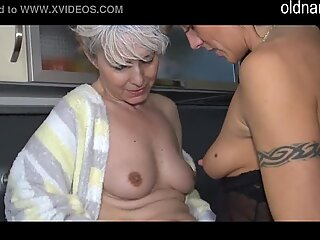 Old Lesbian Granny fucking in the kitchen